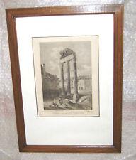 gravure XIXème architecture ancienne 2 - cadre, vitre et marquise 50 cm x 36 cm