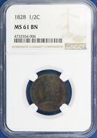 1828 Classic Head Half Cent. NGC MS61BN. ET3094/RUN