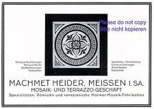 Mosaik Heider Meissen Reklame 1928 Terrazzo Werbung Machmet Spülstein +