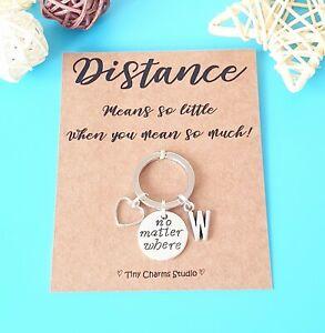 Long Distance Relationship Travel Keyring Couples Gift Going Away Keepsake