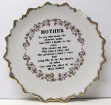 """Mother"" Saying Scalloped Decorative Plate (Has Small Chip) - 7 "" diameter (183)"