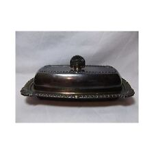 Portsmouth Trade Mark Silverplate COVERED BUTTER DISH w/ glass insert vtg