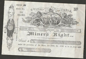 AUST VIc MINERS RIGHT Unused Revenues/ephemera L@@K B 26