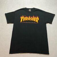 Thrasher Skateboards T-Shirt Size M Black Flaming Logo Short Sleeve Men's