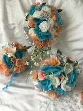 Wedding flowers bridal bouquet decorations Turquoise Coral Choose colors