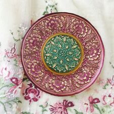 9'' glass decorative plate, stunning ethnic pattern with gold details