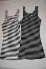 Womens 2 LOT TANK TOP Ribbed OFF WHITE & GRAY Black Stripes SIZE XL Rue 21