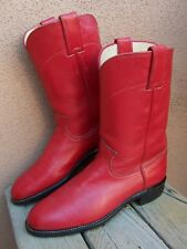 JUSTIN Womens Cowboy Boots Scarlet Red Leather Ropers Western Riding Sz Size 6C