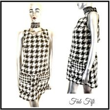 Next Petite Shift Dress Black & Beige Abstract Houndstooth Pattern Pockets UK 12