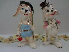 Rare Vintage Japan Porcelain Dog Figurine Pair, Fisherman & Gentleman Banker