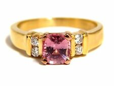 GIA Certified 1.36ct natural no heat padparadscha sapphire diamonds ring 14kt+