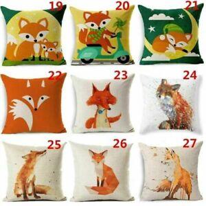 Lovely Panda Fox Panda Cotton Linen Pillow Case Sofa Car Cushion Home Decor