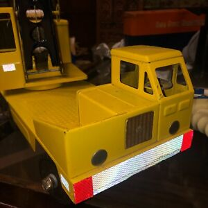 """1960 Vintage Structo Toy Crane Pressed steel 18"""" played with stickers added"""
