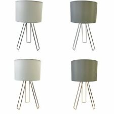 Tripod Table Light Bedside Lamps Modern Design with Cotton Drum Shades