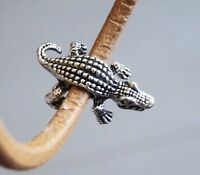 4 Crocodile Spacer Beads for Bracelets Alligator Charm Pendants Beading Supplies