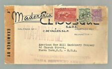 1944 Mexico censored airmail cover C. de Valles San Luis Potosi-Tampico-Nyc