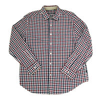 Nautica Men's Button Down Plaid Check Shirt Size XL Red Blue