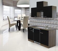Mini Cucina Singola Cucinino 150cm Blocco Rovere Nero respekta