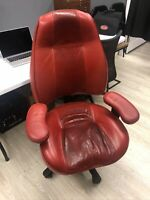 Lifeform Relax The Back Red Leather Mid Back Chair 2490 Two Tone Combo Seat
