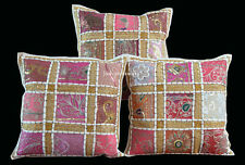 "SET OF 3 INDIAN HANDMADE ZARI WORK 16X16"" COTTON CUSHION COVER ETHNIC ART Sps"