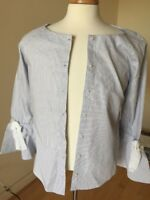 Women's NWT Andrew Marc New York Blouse Size M Blue & White Stripe