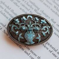 Antique Qing Dynasty Republic Chinese filigree enamel handmade silver brooch