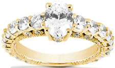 2.01 ct Oval & Round Diamond Engagement Ring Band 14k Yellow Gold H Si 3.62 tcw