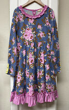 NWOT Matilda Jane 8 Make Believe FAIRY TALES Blue Pink Floral Dress ~ Fall ~