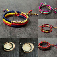 Women Men Adjustable Tibetan Buddhist Wrist Chain Knots Lucky Rope Bracelet Gift