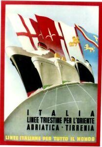Original vintage poster ITALIAN LINES TO FAR EAST c.1950