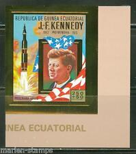 EQUATORIAL GUINEA SPACE  JOHN F. KENNEDY GOLD FOIL IMPERF STAMP MINT NH