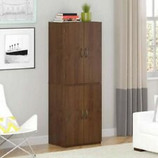 Brown Four Door Storage Cabinet Pantry Furniture Home Living Room Kitchen Office