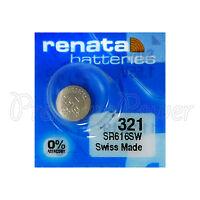 1 x Renata 321 Silver oxide battery 1.55V SR616W Watch SR65 0% Mercury