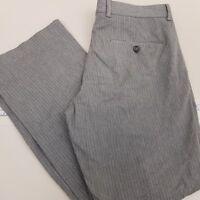 Express Producer Men's Flat Front Dress Pants Size 32 X 29 Striped Gray