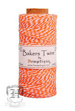 Hemptique Cotton Baker's Twine Orange & White 2-Ply 1mm 410 ft 125 m