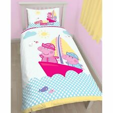 PEPPA PIG & GEORGE 'NAUTICAL' SINGLE DUVET COVER SET NEW 2 in 1
