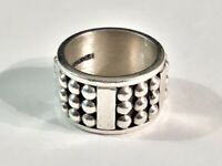 Vintage Modernist Mexico CII Sterling Silver Multi-Dome Heavy Band Ring-Sz. 7