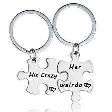 Couple Gifts For Boyfriend & Girlfriend His Crazy Her Weirdo Keychain Keyring