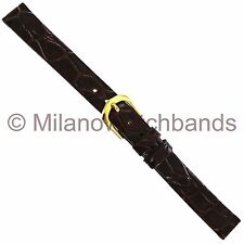 Brown Unstitched Watch Band Ls821 11mm Name Brand Genuine Crocodile