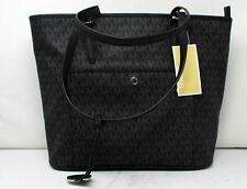 Michael Kors Jet Set Handbag Top Zip Snap Pocket Signature Tote Black 38h3chue3l