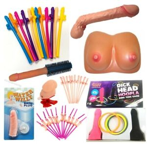 Hen Night Selection Willy Straws Water Gun Dick Head Hoopla Jumping Willy Boobs