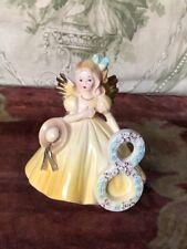 "Sale Vintage Josef Originals Yellow Year 8 Birthday Angel Figurine 4-1/2"" Tall"