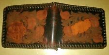 Genuine Hand Tooled Stitched Western Men's Leather Wallet  Bifold