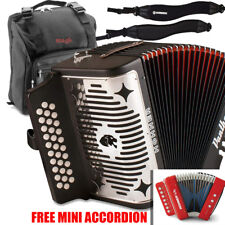 Hohner Panther FBE Fa 31 Button Accordion with Bag, Strap & FREE Mini Accordion