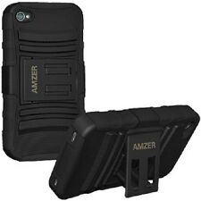 AMZER DUAL LAYER RUGGED HYBRID KICKSTAND CASE COVER FOR APPLE iPHONE 4 4S