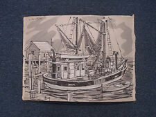 John Day RI Artist Art Painting Fishing Boat Bob Barry Signed Listed 01445