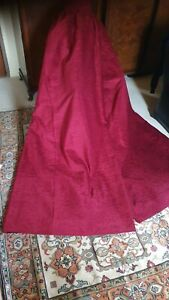 """Stunning pair of red textured velvet chenille curtains 159"""" wide x 86"""" drop"""