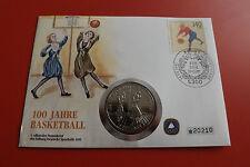 * NUMISBRIEF 100 ans de basket 1991 avec 1 dollars pièce/Niué (alb14)