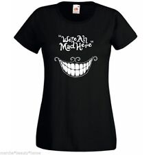 WE'RE ALL MAD HERE lady fit t shirt black cheshire cat alice in wonderland L