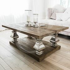 eGB526 - New Aspen Relcaimed Elm Wood Coffee Table with Chrome Pedestals